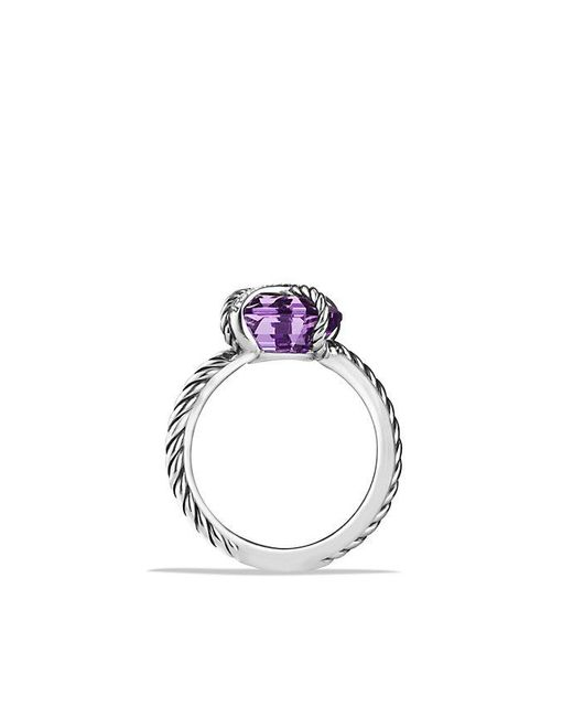 David Yurman | Metallic Cable Wrap Ring With Amethyst And Diamonds | Lyst