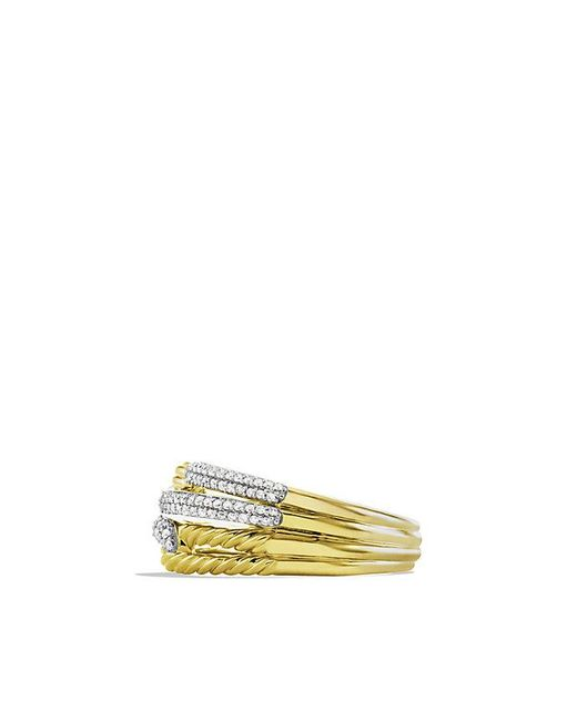 David Yurman | Metallic Labyrinth Double-loop Ring With Diamonds In 18k Gold | Lyst