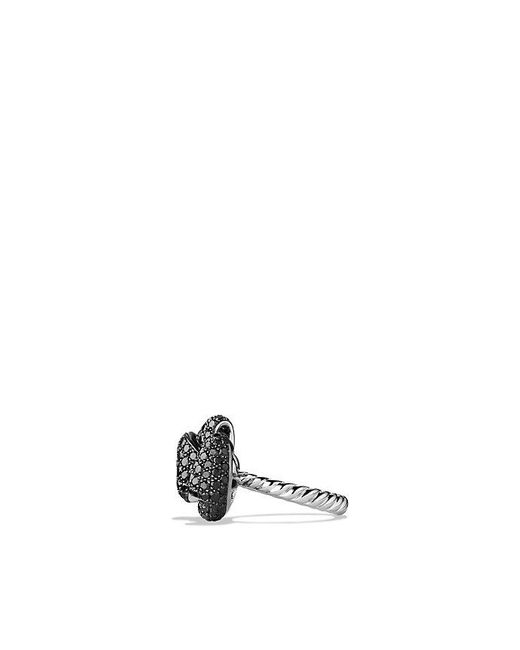 David Yurman | Dy Signature Mini Bow Ring With Black Diamonds In 18k White Gold | Lyst
