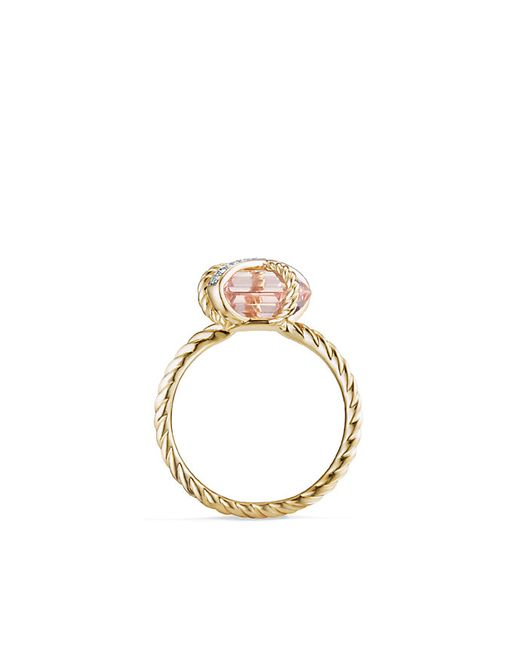 David Yurman | Metallic Cable Wrap Ring With Morganite And Diamonds In 18k Gold, 10mm | Lyst