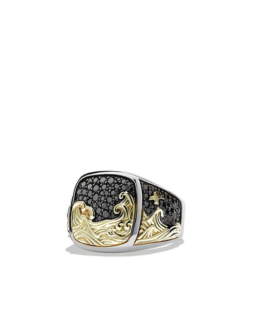 David Yurman | Waves Signet Ring With Black Diamonds And 18k Gold for Men | Lyst