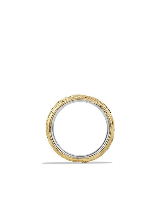 David Yurman | Waves Band Ring With Black Diamonds And 18k Gold for Men | Lyst