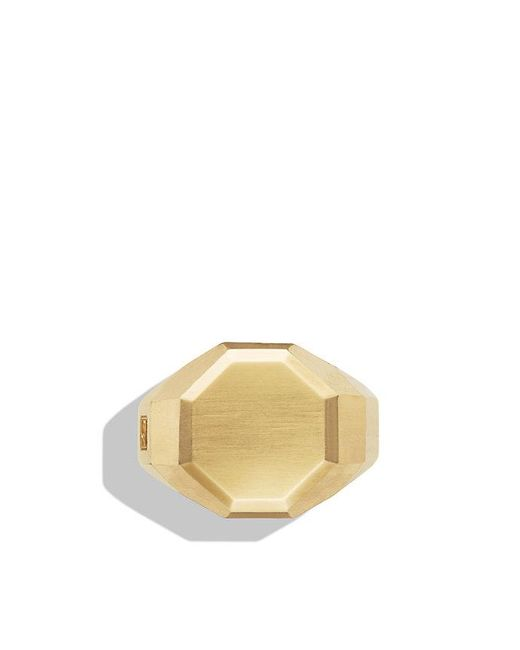 David Yurman | Metallic Faceted Metal Signet Ring With 18k Gold for Men | Lyst