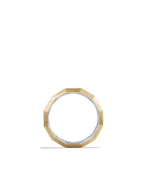 David Yurman | Metallic Faceted Metal Band Ring With 18k Gold | Lyst