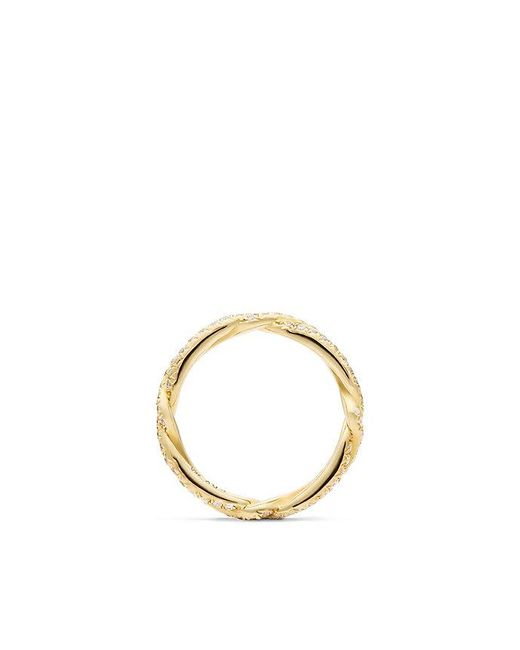 David Yurman | Metallic Dy Wisteria Wedding Band With Diamonds In 18k Gold, 3mm | Lyst
