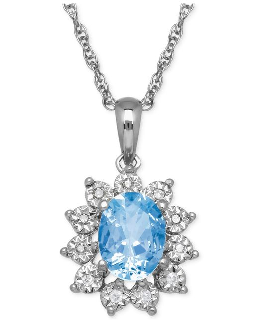 Macy's | Blue Topaz (1-3/8 Ct. T.w.) And Diamond Accent Pendant Necklace In 14k White Gold | Lyst