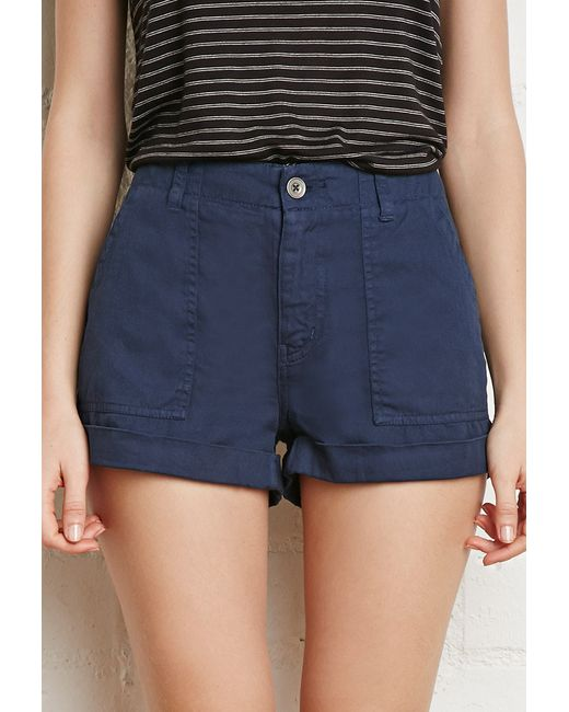 Forever 21 | Blue Cuffed-hem Cotton Shorts | Lyst