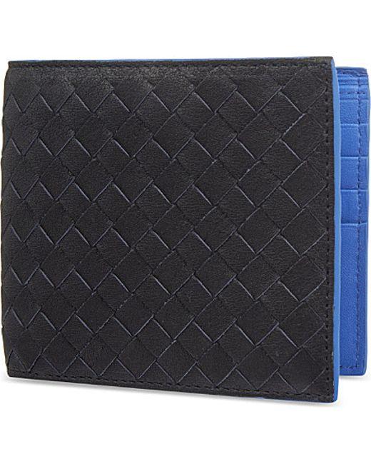 Bottega Veneta | Blue Intrecciato Woven Leather Billfold Wallet for Men | Lyst