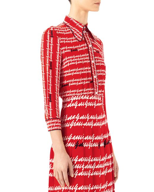 Gucci -print Silk Shirt in Red - 53.6KB