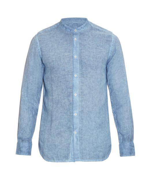 120 lino collarless linen shirt in blue for men light for Mens light blue linen shirt