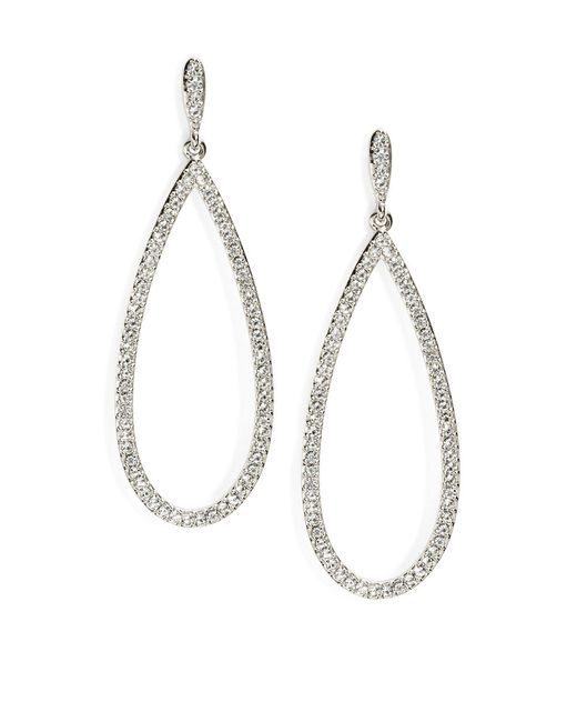 Nadri | Metallic Pave Teardrop Earrings, Silvertone | Lyst