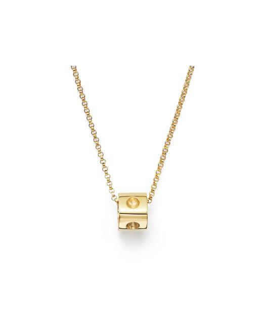 "Roberto Coin   Metallic 18k Yellow Gold Pois Moi Mini Cube Pendant Necklace, 16""   Lyst"