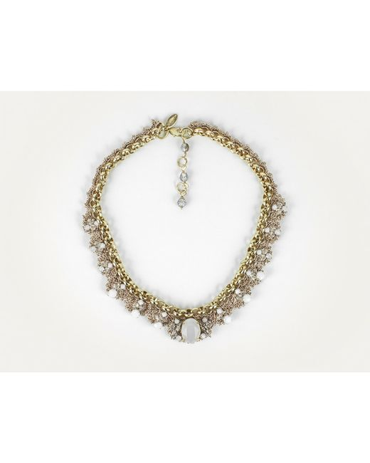 St Erasmus | Metallic Crochet Crystal Flower Necklace | Lyst