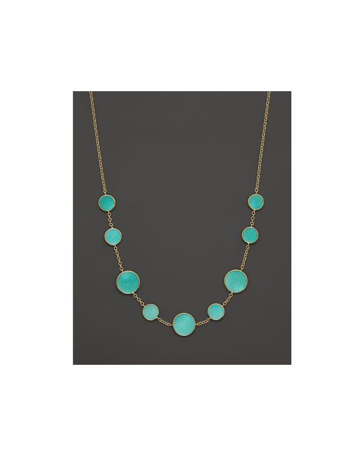 Ippolita | Blue 18k Gold Polished Rock Candy Turquoise Circle Station Necklace, 16-18"