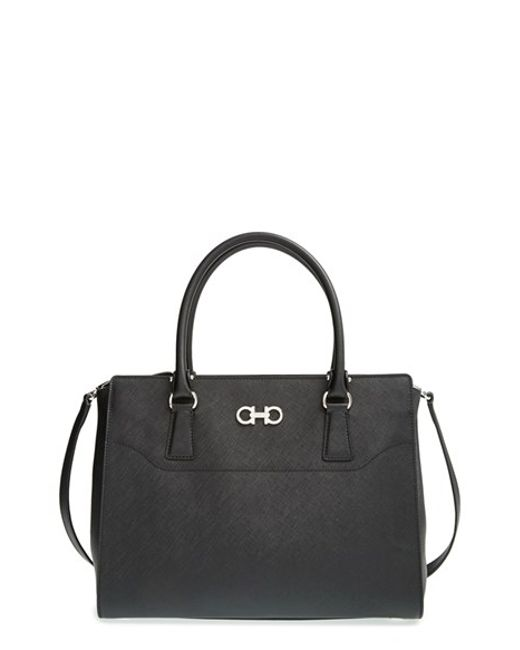 Ferragamo | Black 'large Beky' Saffiano Leather Tote | Lyst