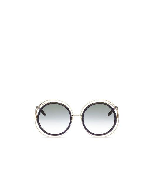 Chloé   Metallic Chloe Carlina Oversized Round Sunglasses, 58mm   Lyst