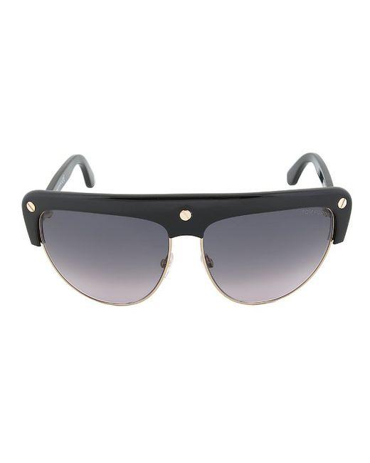 Black And Gold Frame Sunglasses : Tom ford Ft0318 01b Liane Shield Sunglasses - Black And ...