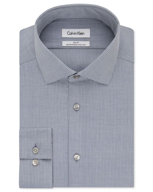 Calvin klein steel slim fit non iron performance medium for Slim fit non iron dress shirts