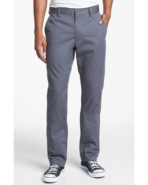 RVCA | Gray 'the Weekend' Slim Straight Leg Chinos for Men | Lyst