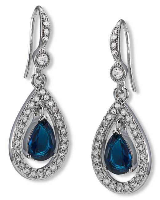 Carolee | Blue Pave Teardrop Drop Earrings | Lyst
