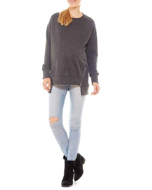 Imanimo   Gray Zip Embellished Maternity Sweatshirt   Lyst