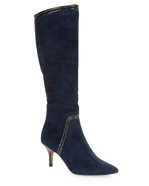 donald j pliner tero suede knee high boots in blue navy