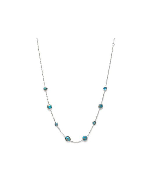 Ippolita | Blue Sterling Silver Rock Candy Necklace In Bronze Turquoise Doublet, 16"