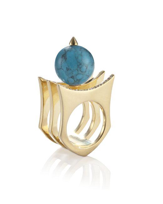 Yael Salomon   Metallic Greta 01 Gold And Turquoise Ring   Lyst
