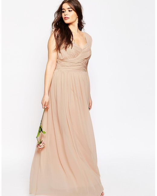 Asos Wedding Maxi Dress With Ruched Panel In Beige (Nude