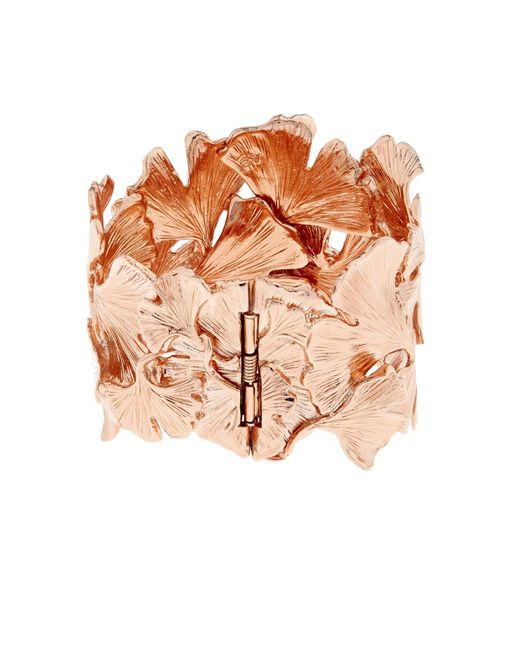 Aurelie Bidermann | Pink Ginkgo Rose-gold Plated Wide Cuff | Lyst
