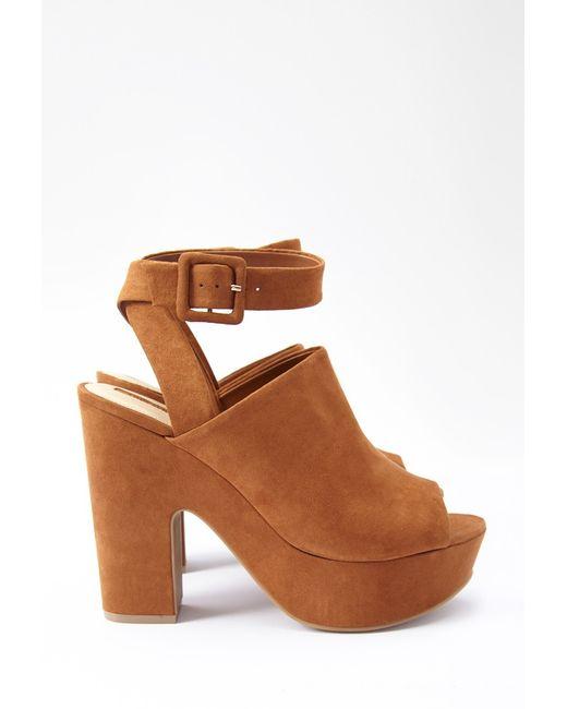 Forever 21 | Brown Faux Suede Platform Sandals | Lyst