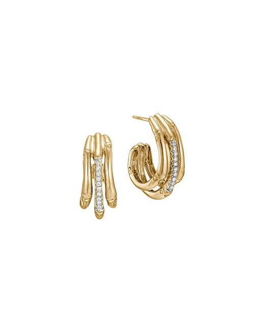 John Hardy | Metallic Bamboo 18k Yellow Gold Diamond Pave Small Hoop Earrings With Diamonds | Lyst