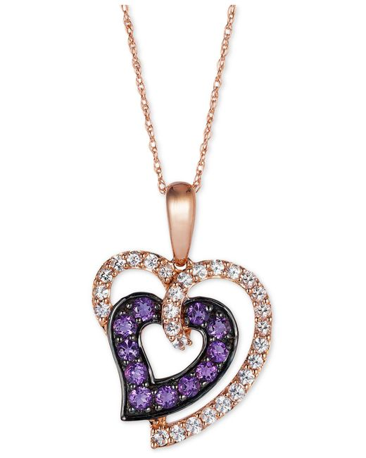 Le Vian | Purple Princess Alexandra White Sapphire (1/2 Ct. T.w.) And Amethyst (1/3 Ct. T.w.) Heart Pendant Necklace In 14k Rose Gold | Lyst