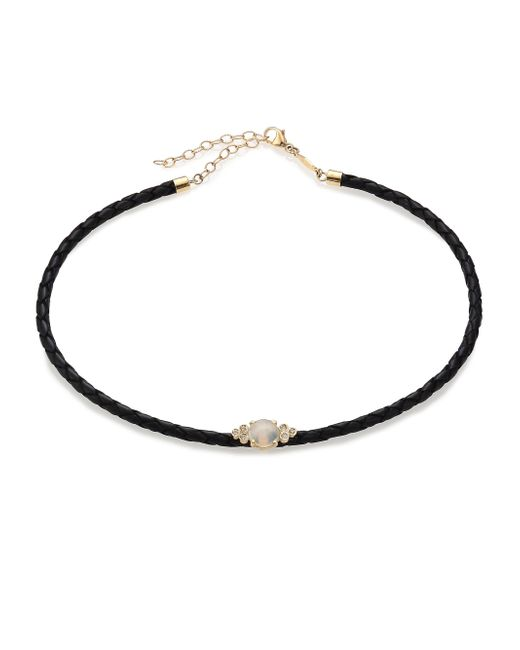 Jacquie Aiche | Metallic Moonstone, Diamond, 14k Yellow Gold & Leather Braided Choker Necklace | Lyst