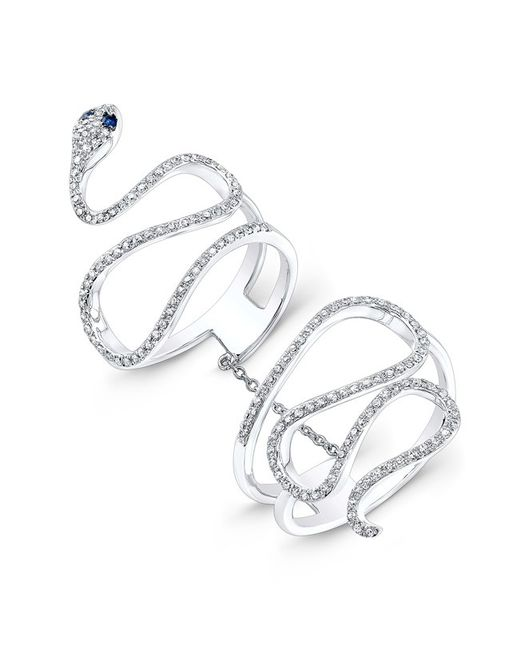 Anne Sisteron | Metallic 14kt White Gold Diamond Blue Sapphire Snake Connector Ring | Lyst