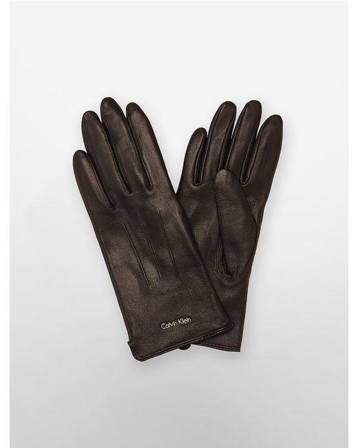 Calvin Klein | Brown Leather Gloves | Lyst