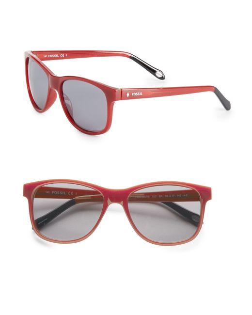 Fossil | Red 56mm Wayfarer Sunglasses for Men | Lyst