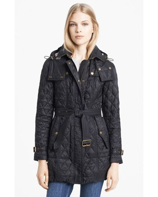 Burberry Brit Finsbridge Belted Quilted Jacket In Black