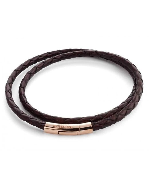 Tateossian | Double Wrap Scoubidou Brown Leather Bracelet With 18k Rose Gold Clasp for Men | Lyst