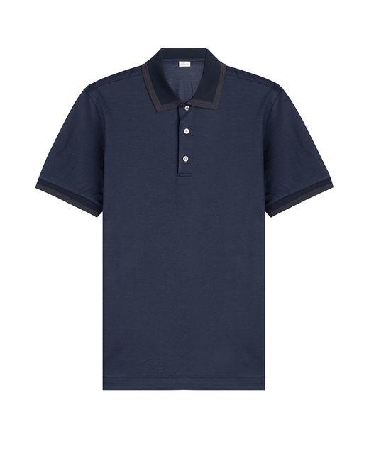 Brioni Cotton Silk Polo Shirt Blue In Blue For Men Lyst