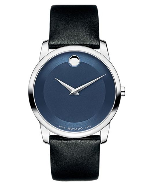 movado museum leather strap watch in black for men lyst
