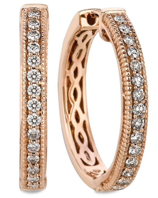 Le Vian | Pink Diamond Diamond Channel Hoop Earrings (1/2 Ct. T.w.) In 14k Rose Gold | Lyst