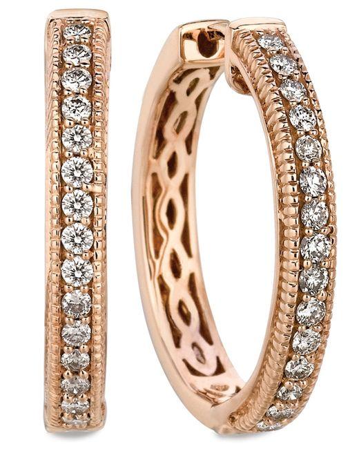 Le Vian | Pink Diamond Diamond Channel Hoop Earrings (1/2 Ct. T.w.) In 14k Rose Gold | Lyst