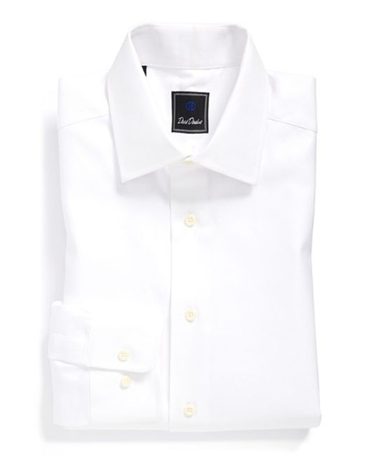 David Donahue Regular Fit Solid Dress Shirt In White For