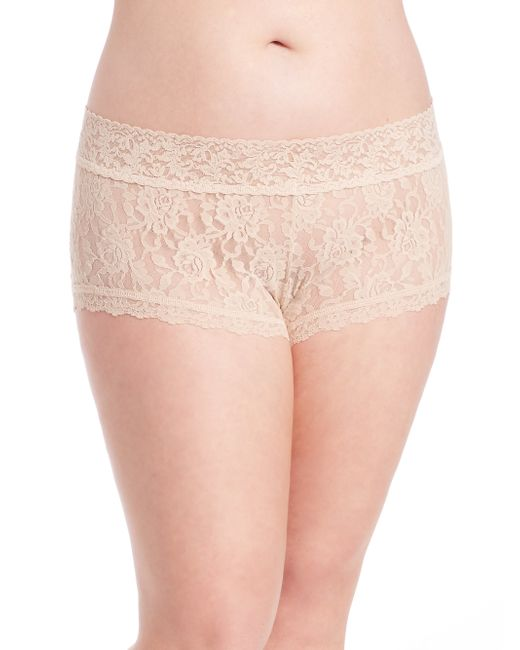 Hanky Panky | Beige Plus Size Wide-band Signature Lace Boyshorts | Lyst