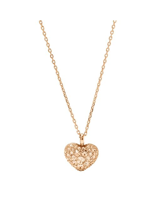 Fossil - Metallic Rose Gold-tone Heart Necklace - Lyst