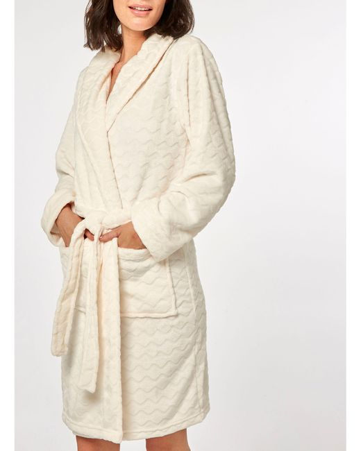 Dorothy Perkins - Natural Cream Zigzag Clipped Dressing Gown - Lyst