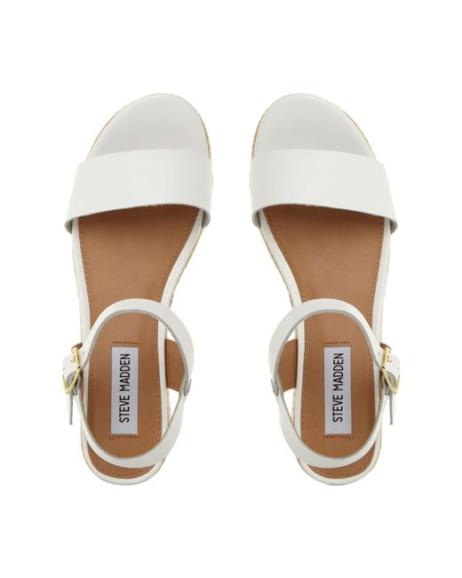 767662dad2f Steve Madden White  busy  Mid Platform Ankle Strap Sandals in White ...
