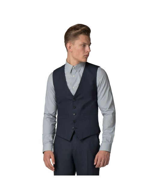Ben Sherman - Blue Navy Waffle Weave Tailored Fit Waistcoat for Men - Lyst