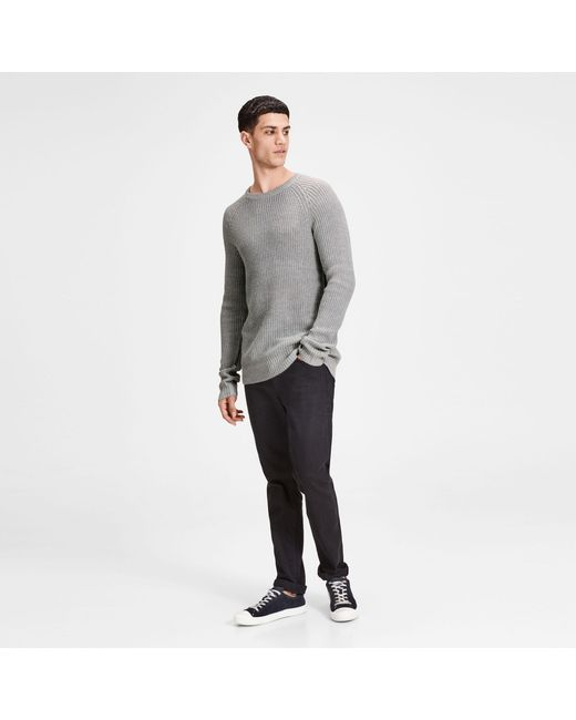Jack & Jones - Gray Grey 'pannel' Knit Jumper for Men - Lyst